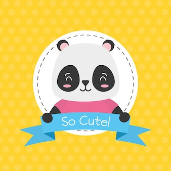 Panda bear label, cute animal, cartoon and flat style, illustration