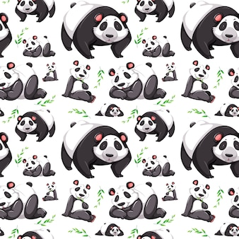Panda bear seamless background
