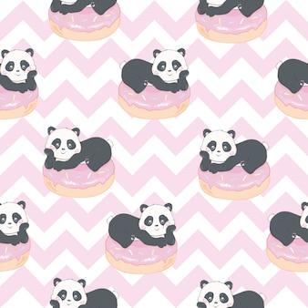 Panda bear semaless pattern in light pink