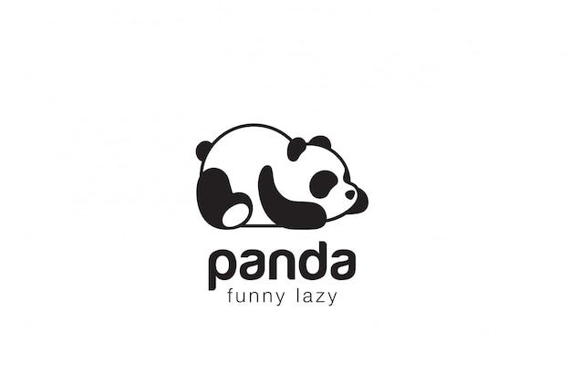 Panda bear silhouette logo design template. funny lazy animal logotype concept icon.