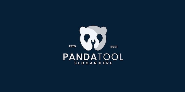 Panda bear silhouette logo design vector template combination of tools