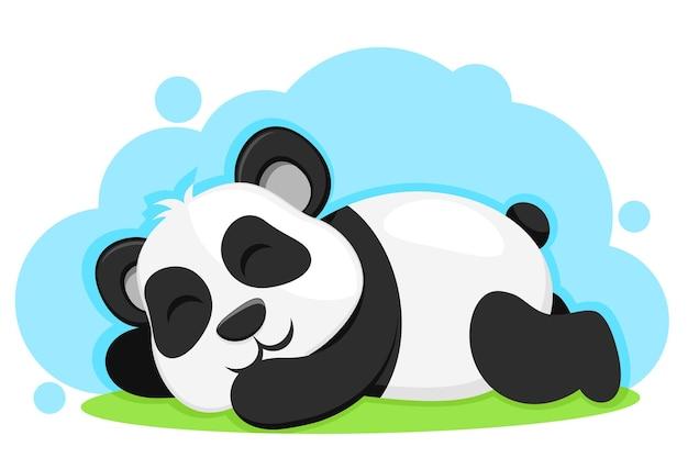 緑の芝生で寝ているパンダのクマ。キャラクター