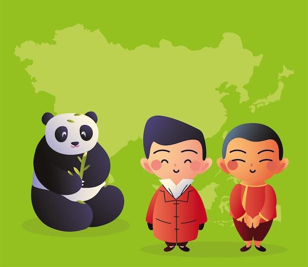 Медведь панда с азиатскими мужчинами