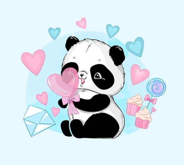 Медведь панда с иллюстрацией сердца конфеты