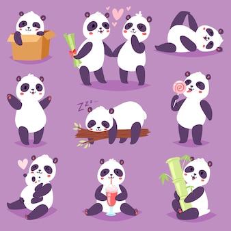 Панда медвежонок или китайский медведь с бамбуком в любви, играя или спя иллюстрации набор гигантской панды, читая книгу или едят мороженое