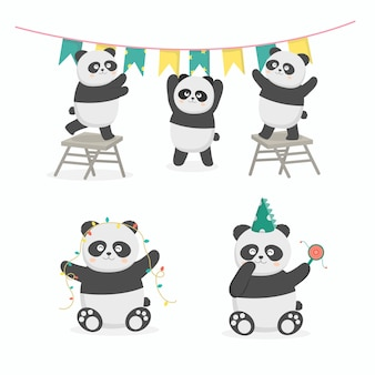 Panda birthday party preparation together. they decorated the venue with flags and lights. celebration cartoon  illustration in flat style