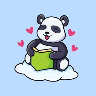 パンダの漫画は本を読みます。動物のベクトルアイコンイラスト、プレミアムベクトルで分離
