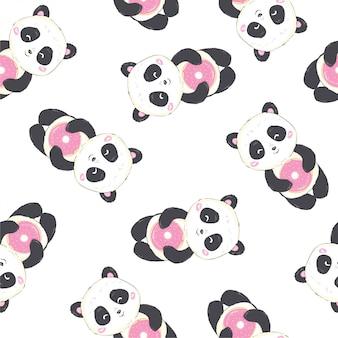 Panda cartoon seamless pattern