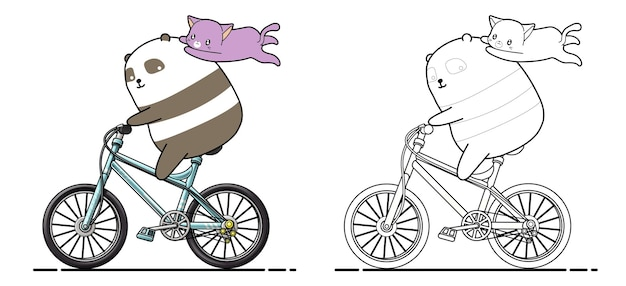 Panda and cat are riding bicycle cartoon coloring page
