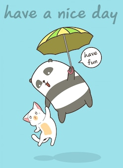 Panda and cat is flying with a umbrella