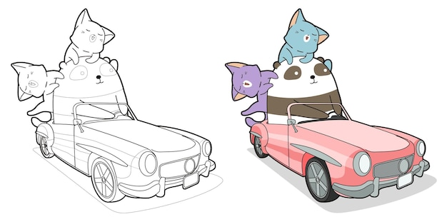 Panda and cats with car cartoon coloring page