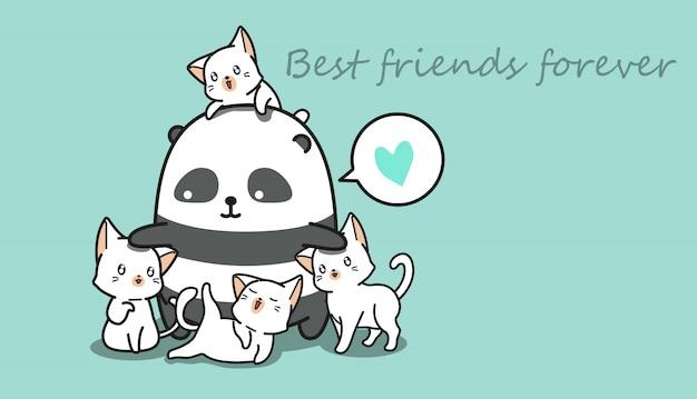 Panda and cats.