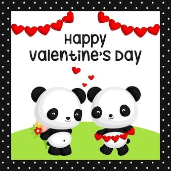 Panda celebrating valentines day