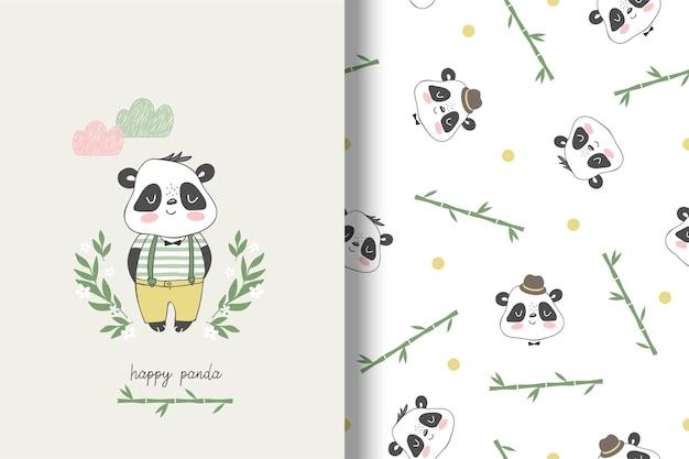 Panda childish card and seamless pattern