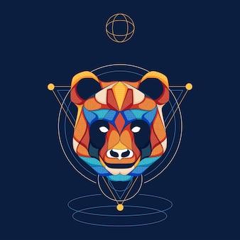 Panda cool illustration geometric design vector logo