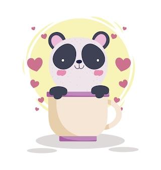 Panda on cup. cartoon style