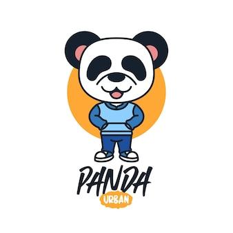 Panda cute cartoon mascot logo design