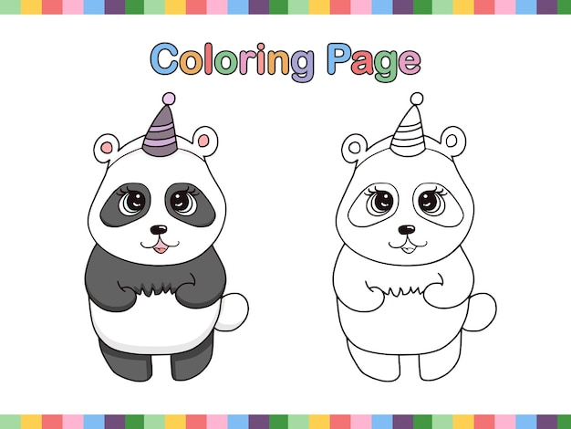 Panda cute coloring book page for kids