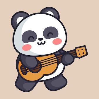 Panda cute playing guitar