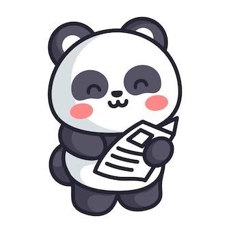 Panda cute read a news