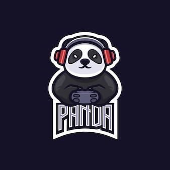パンダeスポーツチームゲームロゴエンブレム
