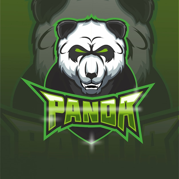 パンダeスポーツチームマスコットロゴ