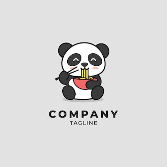 Panda eating noodles cartoon logo
