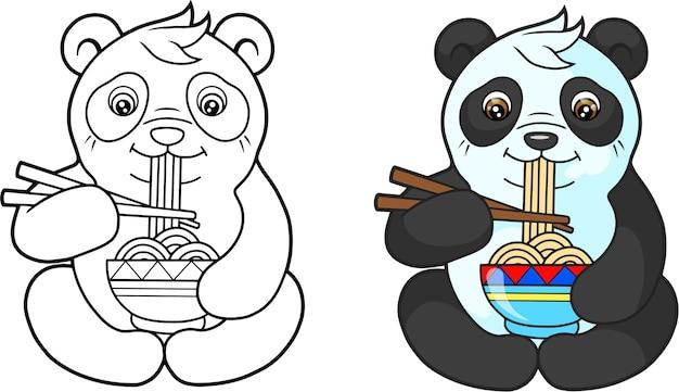 麺を食べるパンダ