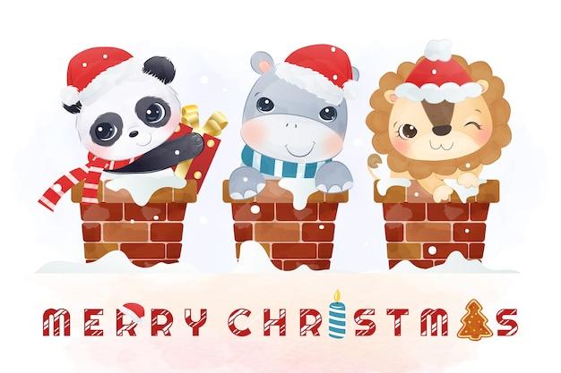 팬더, 코끼리, 사자가 굴뚝에 함께 모여 메리 크리스마스를 기원합니다.