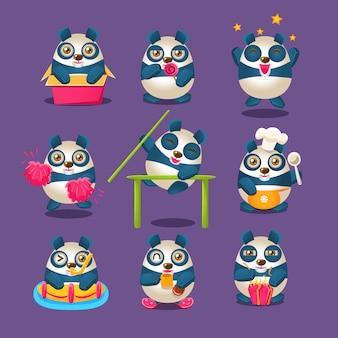 Симпатичная коллекция panda emoji с гуманизированным мультипликационным персонажем, делающим разные вещи