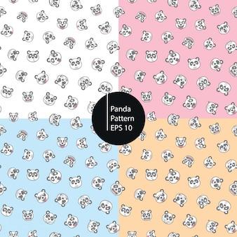 Panda emoticons seamless pattern