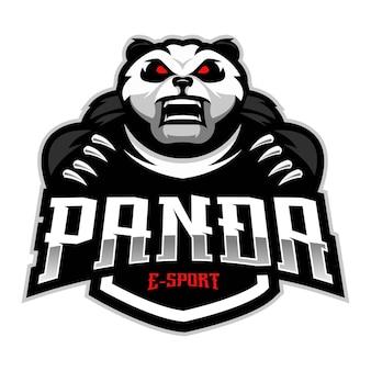 パンダeスポーツマスコットロゴデザインベクトル
