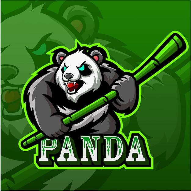 Panda esport mascot logo