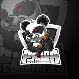 Panda esport талисман дизайн логотипа