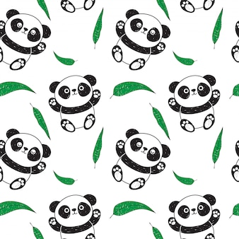 Panda and eucalyptus pattern