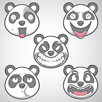 Panda face emotions illustration