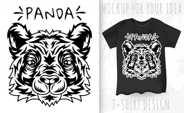 Panda face and t-shirt in vintage monochrome style