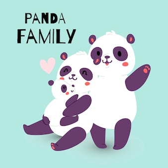 Panda family with adult mother and father with child bear