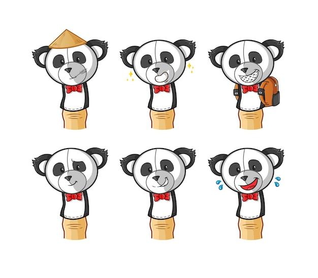 Panda finger doll cartoon.