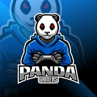パンダゲーマーeスポーツマスコットロゴ