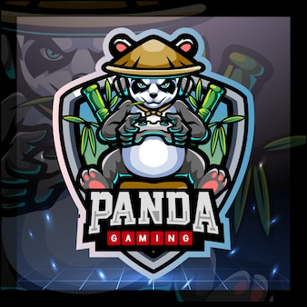 Panda gaming mascot esport logo design
