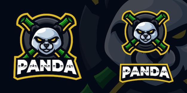 Panda gaming mascot logo template for esports streamer facebook youtube