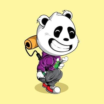 Панда граффити характер с распылительной краской