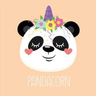 Панда веселый и веселый панда-единорог со словом пандакорн