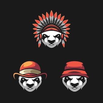 Panda head bundle mascot