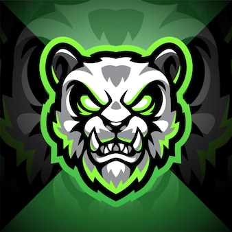Panda head esport mascot logo design Premium Vector