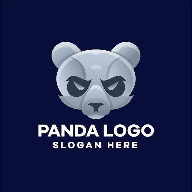 パンダの頭のグラデーションのロゴデザイン