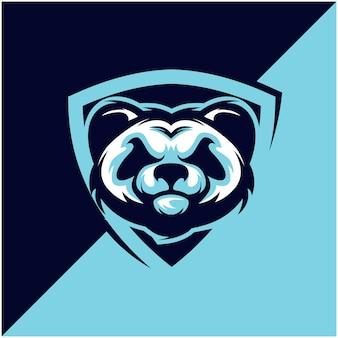 Логотип panda head для спортивной или спортивной команды.