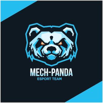 スポーツまたはeスポーツチームのパンダの頭のロゴ。