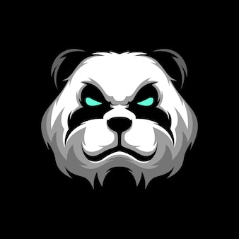 Panda head logo gaming mascot sport template